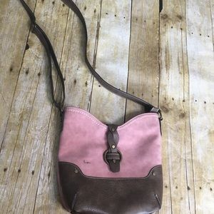 B.O.C. Faux suede and leather crossbody bag
